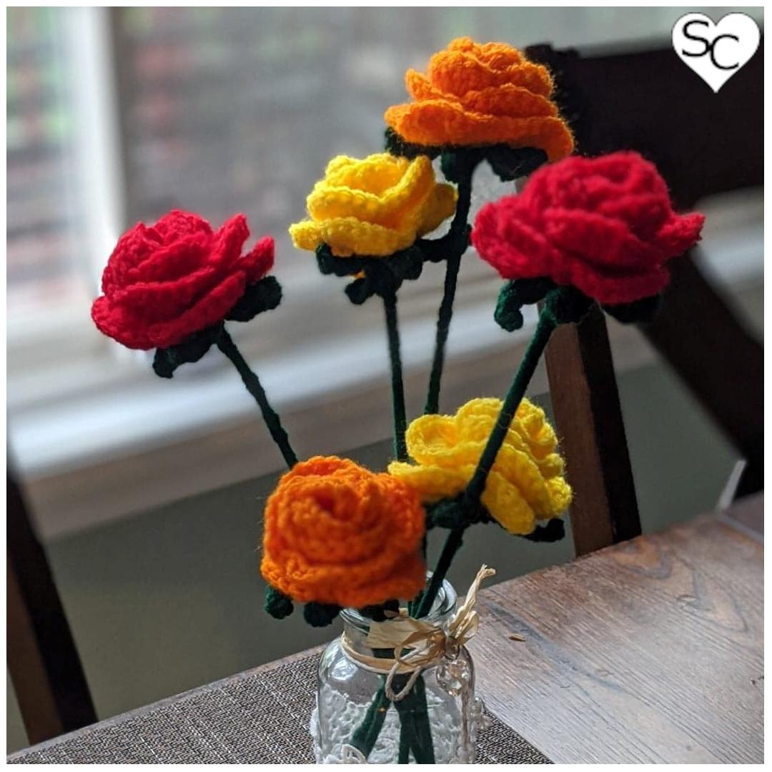 Six Single Stem Thanksgiving Roses